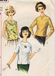 1960s PRETTY Over Blouses Blouse Pattern SIMPLICITY 4523 Three Button Back Blouse Styles Bust 36 Vintage Sewing Pattern