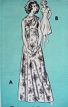 70s EMPIRE DRESS SHOULDER DRAPED PATTERN
