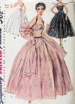 1950s  Dreamy Evening Formal Gown and Stole Pattern Draped Halter Dress, Shorter Cocktail Version Perfect Wedding Prom Ball Gown Simplicity 4584 Vintage Sewing Pattern