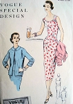 1950s  Slim Dress and Jacket Pattern Perfect Summer Resort Wear Dress Vogue 4600 Vintage Sewing Patterns