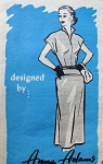 1950s STUNNING Slim Dress Pattern ANNE ADAMS 4611 Slit Neckline Wing Collar Day or After 5 Dress Bust 34 Vintage Sewing Pattern