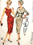 1950s Seductive Slim MIDRIFF Dress and Shortie Jacket Pattern McCALLS 4649 Figure Show Off Bombshell  Sheath Dress Double Breasted Jacket Vintage Sewing Pattern Bust 34 or 36