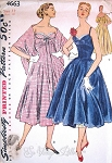 1950s Stunning Evening Gown or  Cocktail Length Dress and Stole Pattern Dramatic Strapless Bodice Figure Flattering Princess Line Simplicity 4663 Vintage Sewing Pattern Bust 30