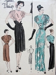 1940s  EVENING GOWN DINNER DRESS PATTERN STRIKING  DRAPED SLEEVES, DRAMATIC STYLE VOGUE SPECIAL DESIGN 4711