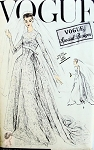 1950s Gorgeous Wedding Gown Bridal Dress and Veil Pattern Slightly flared Skirt, Breath taking Empire Bodice, Lovely Flowing Circular Train Vogue Special Design  4726 Vintage Sewing Pattern UNCUT Bust 36