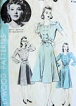 1940s DOUBLE BREASTED BODICE DRESS PATTERN HOLLYWOOD MOVIE STAR BETTY GRABLE
