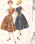 Vintage 1950s McCalls Pattern 4736 BEAUTIFUL Cocktail  Party Evening Dress Fitted Bodice Four Gore Bell Shaped Skirt Bust 36