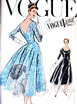 1950s LOVELY Cocktail Evening Dress Pattern VOGUE Special Design 4753 Deep V Back Beautiful Flared Back Fitted  Bodice Front Scoop Neckline + Petticoat Bust 34 Vintage Sewing Pattern FACTORY FOLDED