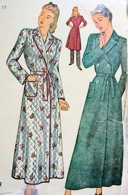1940s Classic Robe Housecoat Brunch Coat Pattern Simplicity 4759 Lovely Ww Ii Style 3 Versions Includes Quilted Design Bust 32 Vintage Sewing Pattern