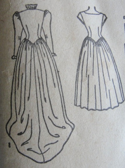 1940s Gorgeous Victorian Gothic High Neckline Wedding Gown Bridal Bridesmaid Dress Pattern Fitted Bodice Lovely Sleeves Long Train Version