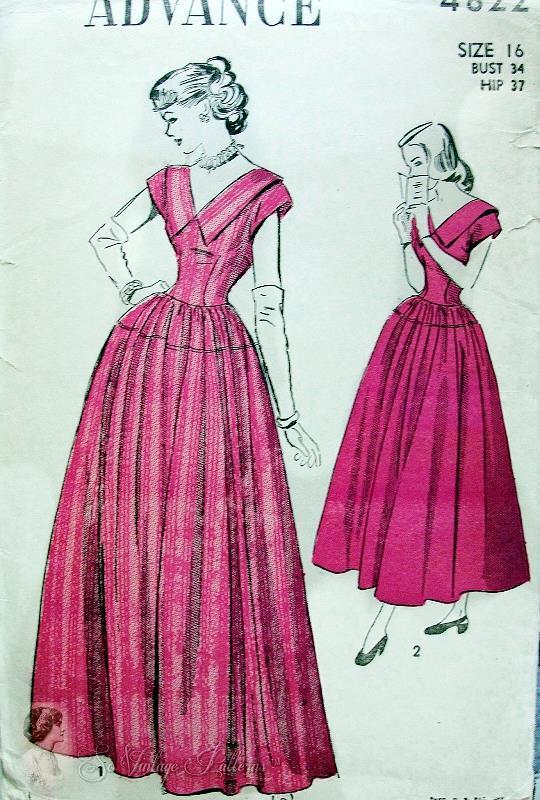 1940s Lovely Evening Formal Dress Pattern V Necklines Full