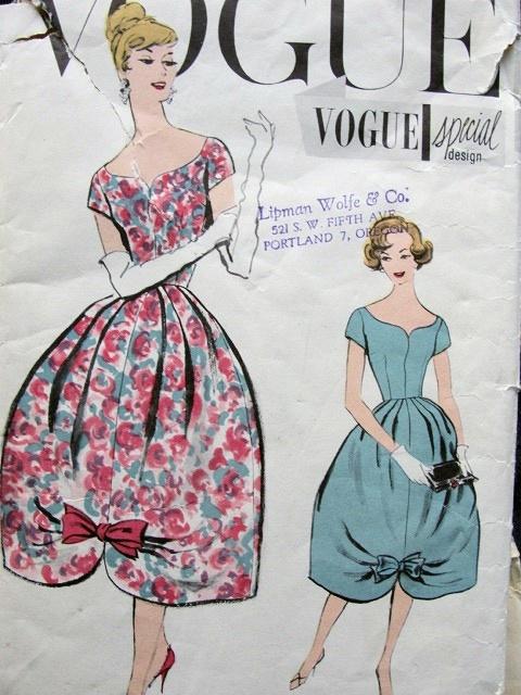 1950s Evening Cocktail Dress Pattern Barrel Shape Skirt