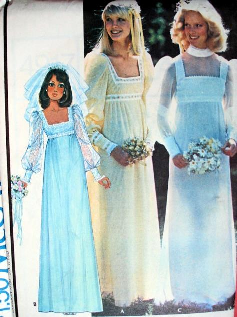 1970s Empire Style Wedding Gown Pattern Flattering Square