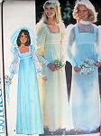 1970s EMPIRE STYLE WEDDING GOWN PATTERN FLATTERING SQUARE NECKLINE BOHO STYLE McCALLS 4917
