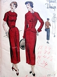 1940s STUNNING VOGUE  Special Design 4920 Slim Classy Button Back Dress, Fitted Double Breasted Jacket Cutaway Front, Daytime or Evening Dress Bust 34 Vintage Sewing Pattern