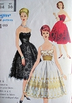 1950s Vogue Special Design 4958 Pattern Strapless or Camisole Top Evening Cocktail Party Dress, Cummerbund Striking Low Back Pure Glam Bust 34