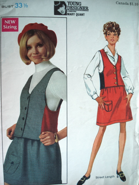 1960s Mod Mary Quant Weskit Skirt Pattern Butterick 5008