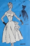 1950s BEAUTIFUL PRINCESS DRESS PATTERN ALMOST OFF SHOULDERS NECKLINE,  PETTICOAT  PROMINENT DESIGNER 503
