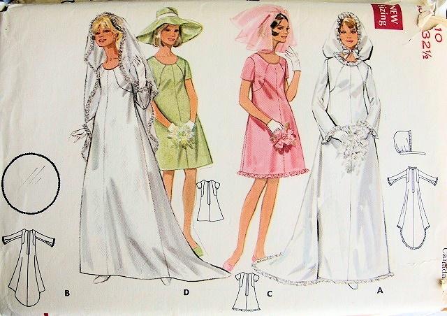 1960s Mod Wedding Bridal Gown Dress Pattern Veil Hood