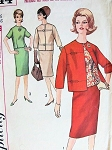 1960s CLASSY 3 Pc Suit Pattern SIMPLICITY 5144 Slim Skirt, Button Back Overblouse,Boxy Jacket Very Jackie Kennedy Style Bust 34 Vintage Sewing Pattern