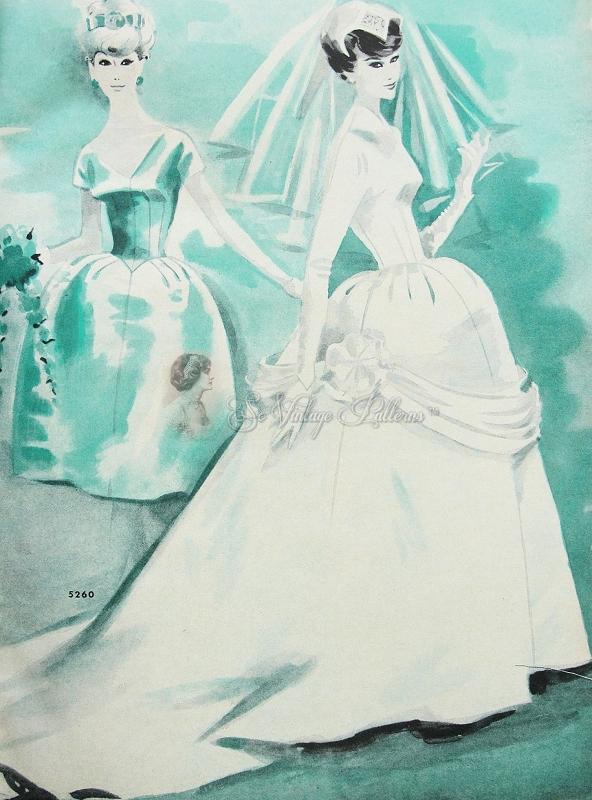 1950s Striking Bridal or Bridesmaids Wedding Gown Pattern McCalls ...