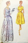 50s EVENING DRESS PATTERN 2 LENGTHS LOVELY NECKLINE STYLES McCALLS 5261