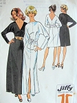 1970s FABULOUS Evening Dress Pattern SIMPLICITY 5363 Low V or Bateau Necklines Bust 36 JIFFY Vintage Sewing Pattern