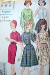 1960s Slim or Full Skirt Shirt Dress Pattern Vogue Young Fashionables 5380 Classic Styles Bust 32 Vintage Sewing Pattern