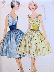 1950s Lovely Cocktail Party Dress Pattern Flattering Surplice Bodice, Cummerbund and Full Skirt Perfect For Sheer Fabrics McCalls 5431 Vintage Sewing Pattern Bust 34
