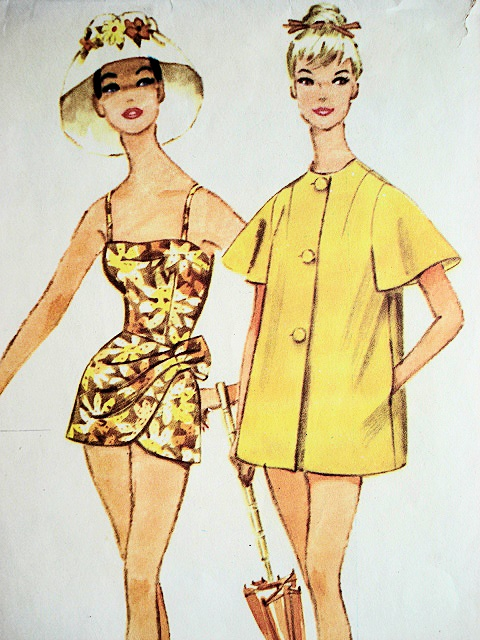1960 Sarong Style Bathing Suit Beach Coat Cover Up