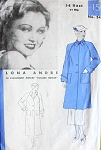 1930s SWAGGER JACKET COAT PATTERN  2 LENGTHS, COLLAR STYLES HOLLYWOOD MOVIE STAR LONA ANDRE 548