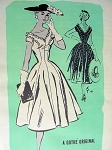 1950s PROMINENT DESIGNER PARTY DRESS PATTERN 548 GOTHE ORIGINAL, FIGURE MOLDING FULL SKIRT, DEEP V NECKLINES, ALMOST OFF SHOULDERS, GORGEOUS STYLE