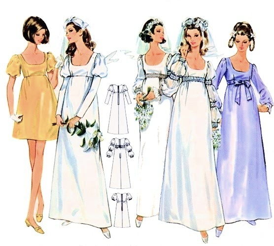 60s Romantic Wedding Bridal Dress Pattern Butterick 5564 High Waist Empire Gown In 5 Versions Maxi And Mini Bust 33 Vintage Sewing Pattern