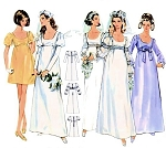 60s ROMANTIC Wedding Bridal Dress Pattern BUTTERICK 5564 High Waist Empire Gown in 5 Versions MAXI and MINI Bust 36 Vintage Sewing Pattern