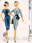 1960s CLASSY McCalls 5603 Dress Pattern Sleek Mad Men Era Slim Figure Show Off Dress, Cummerbund and Short Fitted Jacket  Day or Evening Bust 34 Vintage Sewing Pattern