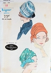 1960s STYLISH Tucked Turban Hats Pattern JOHN FREDERICS VOGUE 5653 Vintage Sewing Pattern FACTORY FOLDED