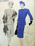STYLISH 1940s 3 PC SUIT PATTERN SLIM SKIRT, LONGER FITTED JACKET, DICKEY VOGUE 5655