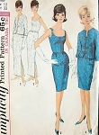 1960s  FABULOUS Slim Evening or Cocktail Party Dress and Jacket Pattern SIMPLICITY 5658 Wide Low Neckline Bust 32 or 36 Vintage Sewing Pattern