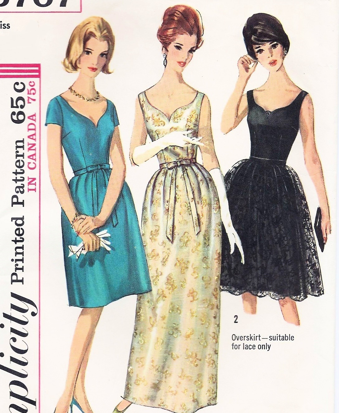 60s CLASSIC Evening Wedding Party Dress Pattern SIMPLICITY 5707 ...