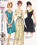 1960s CLASSIC Evening Dress Pattern SIMPLICITY 5707 Beautiful Shaped Sweetheart Neckline, Cocktail or Formal Lengths With Lace Overskirt Version Mad Men Era  Vintage Sewing Pattern UNCUT Bust 38