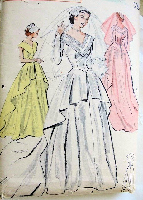 1950s beautiful traditional wedding gown bridal dress for Butterick wedding dress patterns