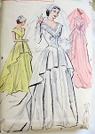 1950s BEAUTIFUL TRADITIONAL WEDDING GOWN BRIDAL DRESS PATTERN FLATTERING V NECKLINE CASCADE OVER SKIRT BUTTERICK 5714