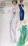 1960s SLIM SHEATH EVENING DRESS, STOLE PATTERN CLASSY STYLE VOGUE PATTERNS 5721