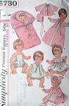 1960s  Dolls Wardrobe Pattern Simplicity 5730 Vintage Sewing Pattern For 18 Inch Dolls Betsy Wetsy,Ginny Baby, Sweetie Pie, Baby Winkie and Twinkie UNCUT FACTORY FOLDED