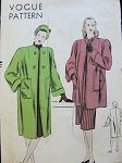 1940s  Film Noir Style Straight Boxy Coat or Jacket Pattern  VOGUE 5730 Striking Pockets Luxurious Cuffs Bust 38 Vintage Sewing Pattern