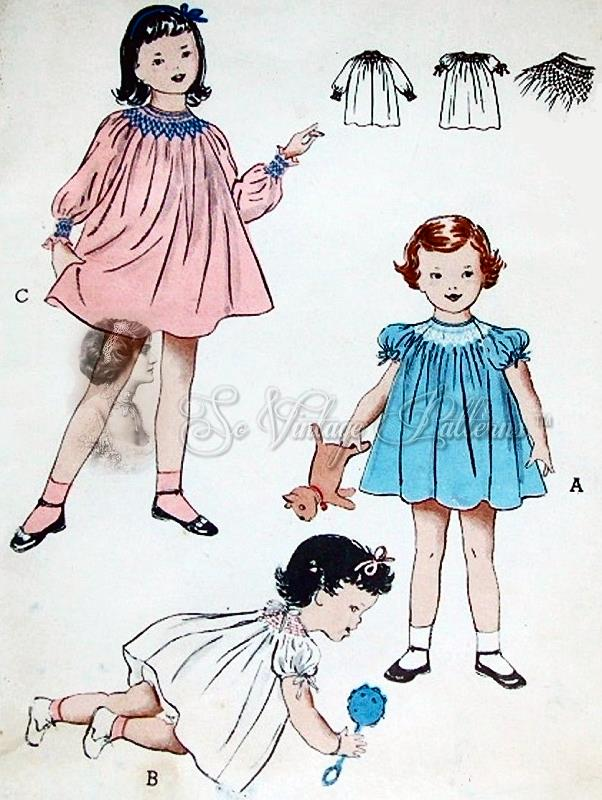 1950s ADORABLE Little Girls Toddlers Smocked or Shirred Dress ...