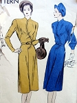 1940s VOGUE 5827 DRESS PATTERN STRIKING CURVED FRONT SEAM 2 SLEEVE VERSIONS CLASSY DESIGN