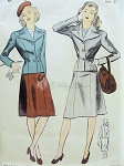 1940s Perky Suit Pattern War Time WW II Fitted Jacket Nipped In Waist Flared Skirt DuBarry 5937 Bust 32