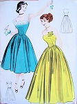 50s STRAPLESS GOWN PATTERN BUTTERICK 5951