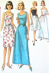 1960s  Very Pretty Prom Grad Special Occasion Dress Pattern Two Neckline styles Four Design Versions Simplicity 6002 Vintage Sewing Pattern Bust 31.5